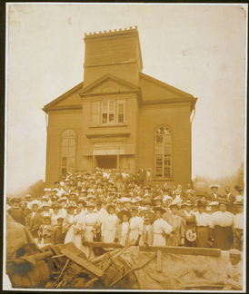 African-American congregation in front of Abyssinian Baptist Church at Waverly Place, New York City, c. 1907