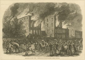The riots in New York: destruction of the Colored Orphan Asylum