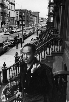 Langston Hughes    June 1958  on the steps in front of his house in Harlem.