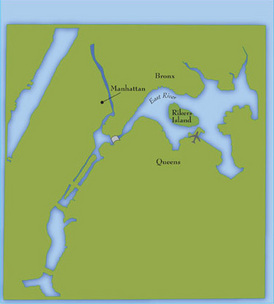 A map showing present-day Rikers Island